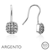 Argento Solitaire Pavé Ball Drop Earrings