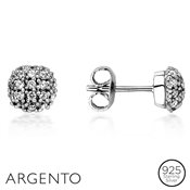 Argento Solitaire Pavé Stud Earrings
