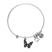 Karma Silver Butterfly Coin Bangle