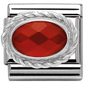 Nomination Red Agath Stone In Silver