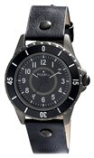 PILGRIM Hematite Plated Black Leather Watch