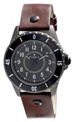 PILGRIM Hematite Plated Brown Leather Watch