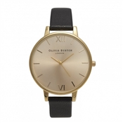 Olivia Burton Big Dial Black & Gold Watch