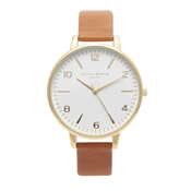 Olivia Burton Big Dial Tan & Gold Watch