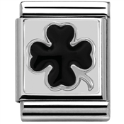 Nomination Big Black Four Leaf Clover Charm