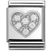 Nomination Big White CZ Heart Charm