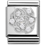 Nomination Big White CZ Rose Charm