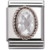 Nomination Big Faceted White CZ Charm