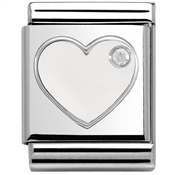 Nomination Big White Heart Charm