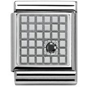 Nomination Big Black CZ Grid Charm