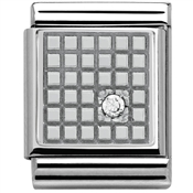 Nomination Big White CZ Grid Charm