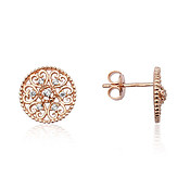 Argento Rose Gold Arabesque Disc Stud Earrings