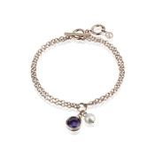 Argento Outlet Rose Gold Pearl CZ Bracelet