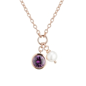Argento Outlet Rose Gold Pearl CZ Necklace