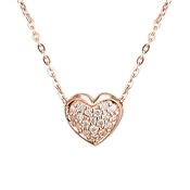 Argento Rose Gold Pave Heart Necklace
