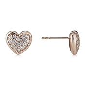 Argento Rose Gold Pave Heart Earrings