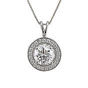 Argento CZ Halo Necklace