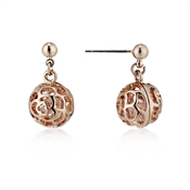 August Woods Rose Gold Crystal Cage Ball Earrings
