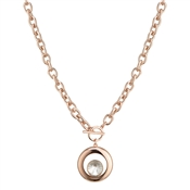August Woods Rose Gold Crystal Round Pendant Necklace
