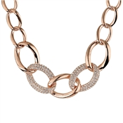 August Woods Rose Gold Crystal Chain Link Necklace