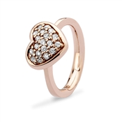 Argento Outlet Rose Gold Pave Heart Ring