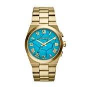 Michael Kors Channing Turquoise Dial Gold Watch