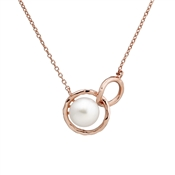 Argento Outlet Rose Gold Linked Pearl Necklace
