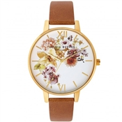 Olivia Burton Flower Show Tan & Gold Watch