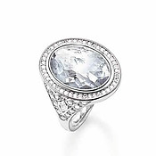 Thomas Sabo Silver Crystal Oval Ring