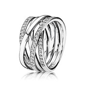 Braided Crystal Ring  by Pandora