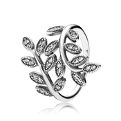 Pandora Sparkling Midnight Leaves Ring
