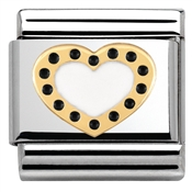 Nomination Gold and Black Heart Charm