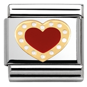 Nomination Gold and Red Heart Charm
