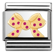 Nomination Pink and Gold Bow Charm