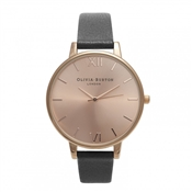 Olivia Burton Big Dial Black & Rose Gold Watch