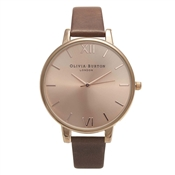 Olivia Burton Big Dial Brown & Rose Gold Watch