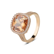 August Woods Rose Gold Champagne Crystal Ring