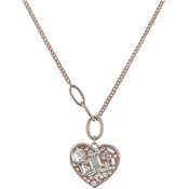 August Woods Rose Gold Crystal Heart Necklace