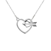 Argento Heart and Arrow Clasp Necklace