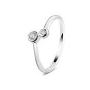Argento Outlet Two Cubic Zirconia Simple Ring