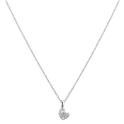 Argento Cubic Zirconia Heart Necklace