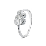 Argento Outlet Cubic Zirconia Leaf Ring