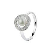 Argento Cubic Zirconia Pearl Circle Ring
