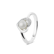 Argento Outlet Cubic Zirconia Pearl Heart Ring