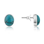 Argento Oval Turquoise Studs