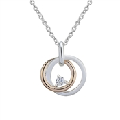 Argento Rose Gold Mix Loop Cubic Zirconia Necklace