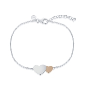 Argento Outlet Two Hearts Rose Gold and Silver Bracelet