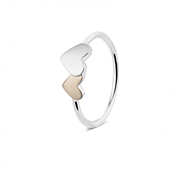 Argento Two Hearts Rose Gold and Silver Ring