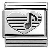 Nomination Silvershine Heart Music Note Charm