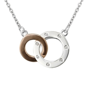 Argento Rose Gold Mix Interlink Circle Necklace With Cubic Zirconia
